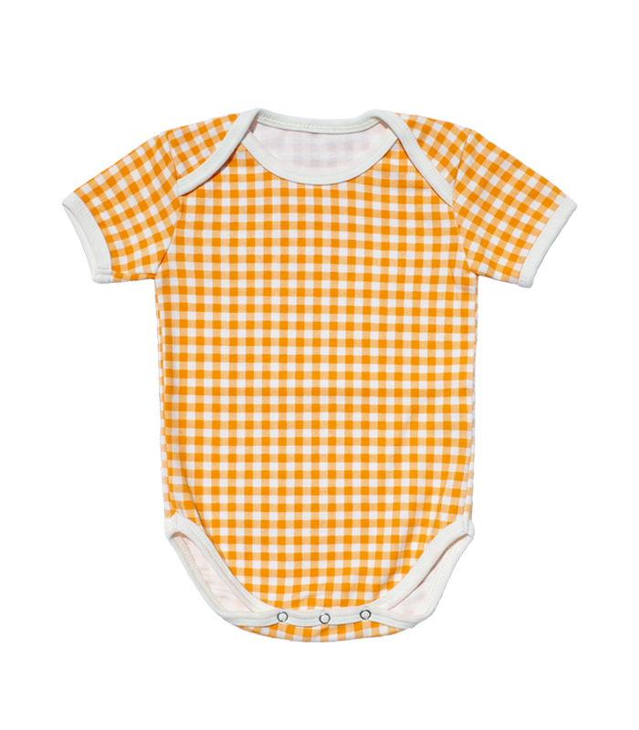 Orange Check Bodysuit