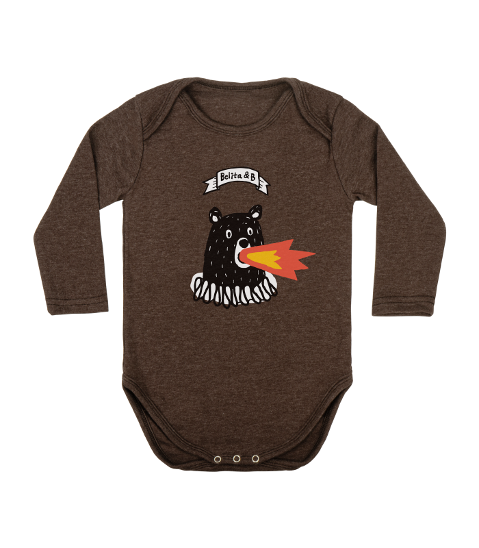 Fire bear brown bodysuit